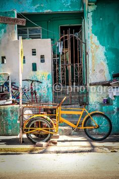 LAST COPY Yellow Bike Photo Fine Art Travel Photography Retro Vintage Yellow Green Teal Old Bikes Mexico Cancun Photo Rustic Hipster #Etsy #Share #AyuJewelryShare #EtsyShop #MSMTeam