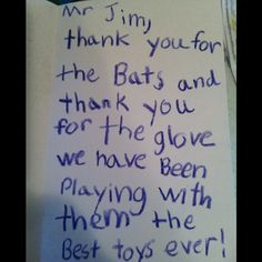 Note from the neighbor kids across the street. Written in crayon! Best note ev-er!