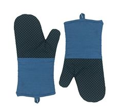 LA Sweet Home Silicone Square Pattern Heat Resistant Grill Oven Mitts and Cooking Gloves Potholder for Baking 2 C03 Blue ** Click image to review more details.
