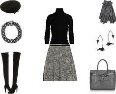 winter wear to work skirt, thigh- high boots, turtleneck sweater