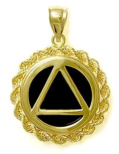 Alcoholics Anonymous AA Symbol Pendant, -1029, Solid 14k, Rope with Black Onyx * You can find out more details at the link of the image. (This is an affiliate link) #Necklaces