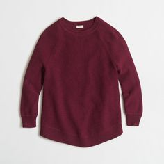 J.Crew Factory textured curved-hem sweater ($40) ❤ liked on Polyvore featuring tops, sweaters, j crew top, long sleeve sweaters, j crew sweaters, j.crew and long sleeve tops
