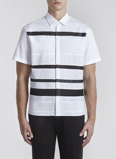 Mixed Textured Striped Shirt White/black Neil Barrett