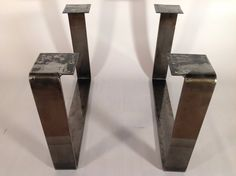 "15"" X 21"" Coffee Table Legs Flat Steel, Height 12"" To 16"" Set(2) - for the ship hatch table."