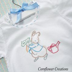 Peter Rabbit in the Garden - Hand Embroidered Vintage Style Linen Romper (Made to Order Any Size)