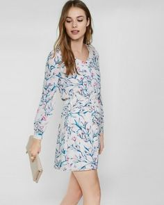 floral print button front elastic waist dress from EXPRESS