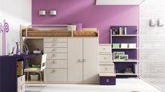 Juvenil Cama alta con armario, cajones y despacho integrado. Ref: JUV21 Mobelinde - Muebles a medida Barcelona. Fábrica y tiendas. Fabricación propia de muebles juveniles, armarios, dormitorios, salones, mesas y sillas, estudio y oficina, cocina, complementos.