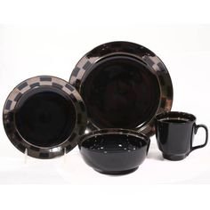 0d4d40675e4b product image for Baum Checkered 16-Piece Dinnerware Set in Black
