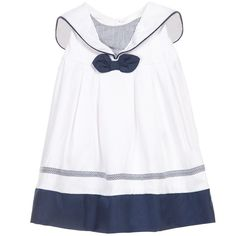 Baby girls white and navy blue sleeveless sailor style dress and matching knickers by Mayoral Newborn. Made in a smooth lightweight cotton, with popper fasteners on the back for easy dressing. Suitable for both smart and casual occasions, it has a sweet sailor style collar, a bow on the front and blue striped trim. An ideal dress for a day at the beach, a summer wedding or party. Layer up with a bolero and tights for cooler weather.
