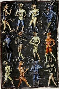 Twelve Devils with Forks   French, ca.1450-70