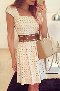 Women's Chic Short Sleeve Square Neck A-Line Dress