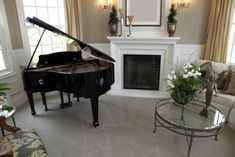 Luxury Music Practice Rooms showing a home music room with stylish decor, fireplace and a beautiful grand piano Piano Living Rooms, Condo Living Room, Living Room Interior, Living Spaces, Home Studio Musik, Rustic Staircase, Home Music Rooms, Modern Room, Modern Living