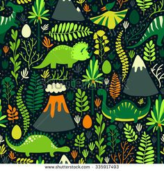 Vector seamless pattern with different dinosaurs, floral elements and mountains. Cute hand drawing cartoon characters. Childish bright repeated texture for wallpaper, fabrics and different surfaces.