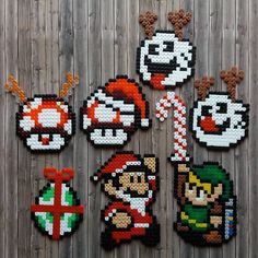 Gaming Super Mario Zelda Christmas Perler Hama Beads - Beadsmeetgeeks Hama Beads Mario, Christmas Perler Beads, Art Perle, Perler Bead Templates, Peler Beads, Pearler Bead Patterns, Iron Beads, Fuse Beads, Bead Art