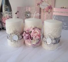 """My Livemaster.Wedding glasses The post Wedding set """"Silver rose"""" appeared first on Beautiful Daily Shares.beautiful bathroom or bedroom setInspiruj się z gdziewesele.Find and save images from the Candles collection by Mercede Lynn on We Heart I Wedding Centerpieces, Wedding Decorations, Christmas Decorations, Diy Candles, Pillar Candles, Unity Candle, Candle Set, Candle Craft, Creation Deco"""
