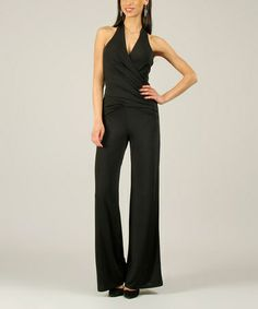 Black Halter Jumpsuit by 100% Parisienne Chic #zulily #zulilyfinds