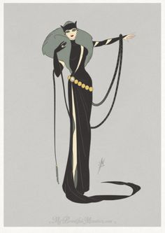 Continuing my Art Deco DC character redesigns with Catwoman. Inspired by the elegant concepts of Erté, the prolific artist and designe. Comic Book Characters, Cute Characters, Catwoman Cosplay, Gotham Girls, Charming Man, Batman, Geek Girls, Dc Heroes, Geek Culture