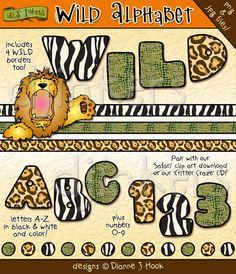 Wild animal print clip art alphabet