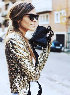 You can't go wrong with a gold sequin jacket