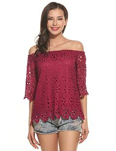 Special Offer: $25.99 amazon.com Meaneor Summer Lace Crochet Off Shoulder Twin Set Top Tees Shirt for Ladies off shoulder and lace floral creats styles that communicate sophistication and gracefulness. Our blouse will make you look more elegant, independent and confident. It is great for...