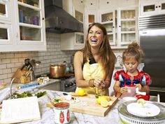 Family-Style Kitchen  ~~  No-window room:  layer white on white and add reflective surfaces ~~  Genevieve Gorder at Home on HGTV