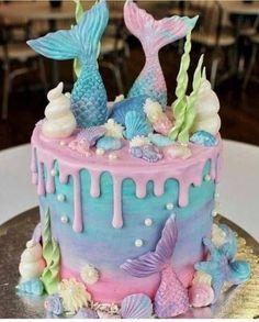 mermaid cake for mermaid birthday party Mermaid Birthday Cakes, Mermaid Cakes, Birthday Cake Girls, 5th Birthday, Mermaid Cupcake Cake, Unicorn Cupcakes, Birthday Ideas, Mermaid Tail Cake, Mermaid Birthday Decorations