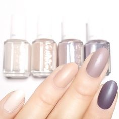 When you can't choose just one, follow in celebrity nail stylist @karengnails footsteps and choose them all! Featured are 'wrap me up', 'all eyes on nudes', 'comfy in cashmere' and 'coat couture' from the cashmere matte collection #essielook