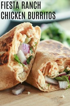 These Fiesta Ranch Chicken Wraps only take a few minutes to throw together and taste amazing. You will love how fresh they taste. Healthy Diet Recipes, Healthy Foods To Eat, Mexican Food Recipes, Cooking Recipes, Healthy Eating, Healthy Dinners, Healthy Cooking, Dessert Recipes, Ranch Chicken Wrap