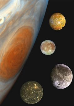 Jupiter and Its Moons Photograph courtesy NASA This family portrait, a composite of the Jovian system, includes the edge of Jupiter (with the Great Red Spot visible) and Jupiter's four largest moons, known as the Galilean satellites. From top to bottom a Cosmos, Jupiter Planeta, Jupiter's Moon Europa, Jupiter Y Saturno, Great Red Spot, Jupiter Moons, Planets And Moons, Space And Astronomy, Outer Space