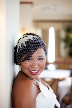 Crystal Beaded Bridal Headband with Birdcage Veil - Sophia our Couture Crystal & Silver Beaded Headband with birdcage veil for your wedding. $82.50, via Etsy.