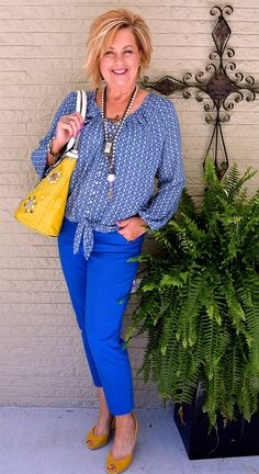50 IS NOT OLD | AGELESS STYLE - VACATION WEAR | Blue + Yellow | Espadrilles | Fashion over 40 for the everyday woman #plunder #michaelkors #nicolelee #karenkane