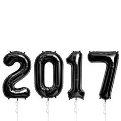 """These huge foil balloons are sure to make a statement at your New Years Eve party or photoshoot! Includes (4) uniflated mylar balloons (2-0-1-7) The cost to inflate 34"""" balloons varies by location. Pl"""