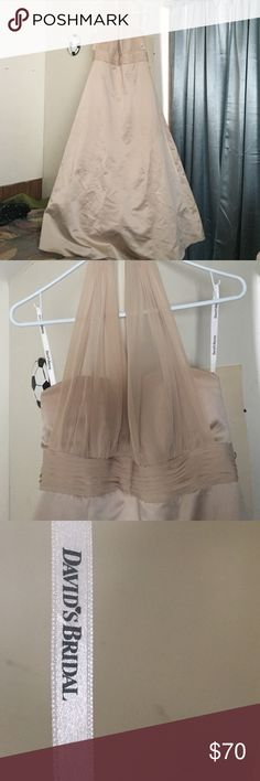 Size 16 Davids Bridal Tan Gown It's only been worn once for prom. Other than that it is brand new. Originally $160.00. Ties in the back David's Bridal Dresses Prom