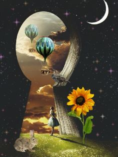 happy day dear friends ♥ image by MOMO. Discover all images by MOMO. Surealism Art, Fantasy Art Landscapes, Surrealism Painting, Retro Futurism, Moon Art, Psychedelic Art, Whimsical Art, Surreal Art, Collage Art