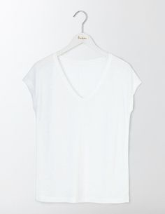 92e727bf7a #Boden V-neck Linen Tee White Women Boden, White 36415966 #Made from