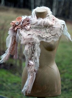 Winter romance- bohemian shabby chic shawlette from antique  laces, knit mohair