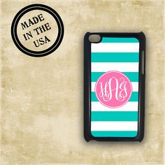 Monogrammed Ipod Touch case - Tiffany blue stripes hot pink - personalised iTouch 4g ipod case monogram iPod 5 iTouch 5g (9728) on Etsy, $15.99