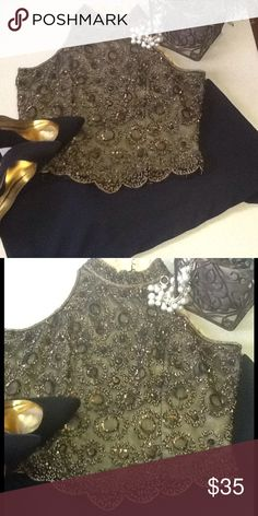 💕Classy black gold bronze beaded top💕 💕Beautiful beaded high neck with scolloped hem line in black gold bronze with a gold lining very classy great addition to any closet💕fabulous Christmas party top only worn once💕 Tops