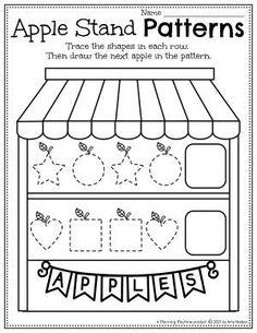 Apple Patterns & Shape Tracing - Apple Worksheets Preschool