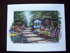Vintage signed Art Print by Josè  GARDEN PATH  20 x 16 printed in Canada by LIZ404 on Etsy