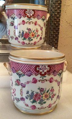 Pair antique French Porcelain de Paris cachepots Boudois & Bloch