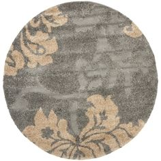 Shop for Safavieh Florida Shag Dark Grey/ Beige Floral Round Rug (4' Round). Get free shipping at Overstock.com - Your Online Home Decor Outlet Store! Get 5% in rewards with Club O! - 16106946