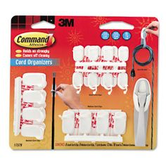 Command Products - Command - Cord Organizer Multi Pack, White - Sold As 1 Pack - For work or home offices and entertainment areas. - Keeps cords out of the way. - Ideal for organizing multiple cord sizes. Command http://www.amazon.com/dp/B004E2Q3Y2/ref=cm_sw_r_pi_dp_heUOtb0Q5ZXE5N6Z