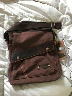 dd891d65de AUGUR Messenger Bag Brown 100% Canvas with Leather  fashion  clothing   shoes