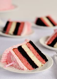 Neapolitan 5-Layer Birthday Cake with Strawberry Frosting- Ever since my first pregnancy I can't get enough of strawberry cake!
