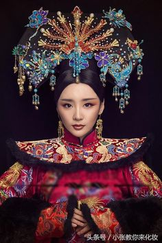 Asian Lady in Red, Blue, & Gold Traditional Fashion, Traditional Dresses, Chinese Culture, Chinese Art, Costume Ethnique, Cultures Du Monde, Photo Portrait, Oriental Fashion, Chinese Fashion
