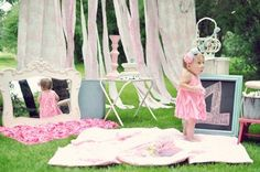 Baby girl's first birthday ideas « Blankets laid out for outside time in the late afternoon… yeah!