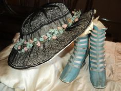 I love antique clothing~! Edwardian Black Lace wire hat with florals of by Bellasoiree, $325.00