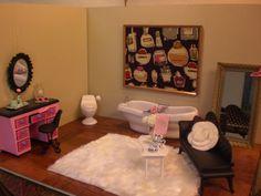 I like the rug idea Barbie House Furniture, Doll Furniture, Monster High Dollhouse, Barbie Bathroom, Barbie Doll House, Barbie Stuff, Barbie World, Custom Dolls, Diy Doll