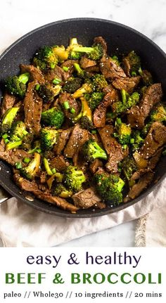 Whip it up this healthy version of classic Chinese takeout! Flavor packed Whole30 and Paleo Beef & Broccoli Stir Fry calls for 10 ingredients, 20 minutes to make, and one pan. Perfect for meal prep or an easy weeknight dinner. Paleo, Whole30, gluten free, and low carb! - Eat the Gains #paleo #whole30 #lowcarb #glutenfree #mealprep